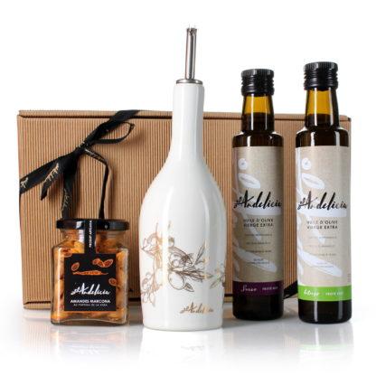 Coffret cadeau Prestige (huiles d'olive, huilier, amandes)